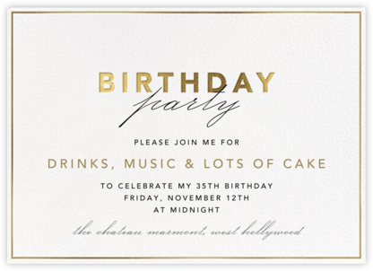 Shining Gold - Birthday - Paperless Post - Adult Birthday Invitations