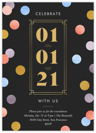 Confetti Date - Multi - Paperless Post - New Year's Eve Invitations
