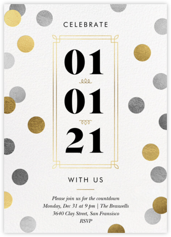 Confetti Date - White - Paperless Post - New Year's Eve Invitations