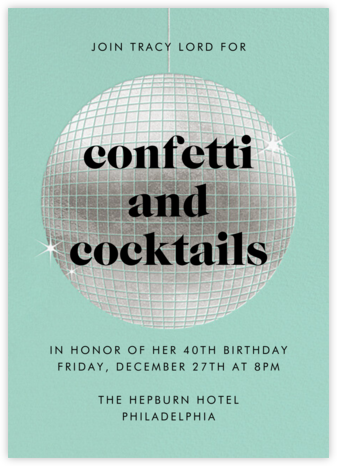 Have a Ball - Celadon - Paperless Post - Adult Birthday Invitations