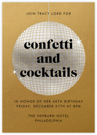 Have a Ball - Gold - Paperless Post - Adult Birthday Invitations