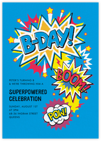 Boom Pow - Paperless Post - Online Kids' Birthday Invitations
