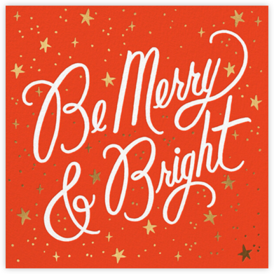 Merry and Bright Script - Flame/White - Rifle Paper Co. - Holiday Cards
