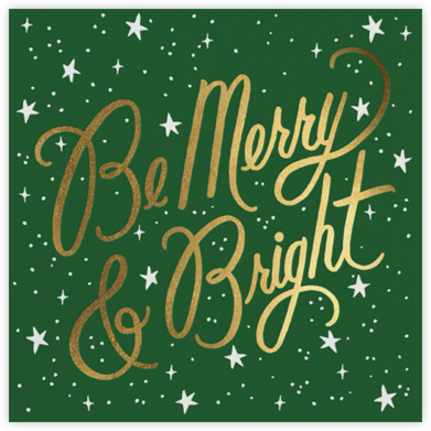 Merry and Bright Script - Forest Green - Rifle Paper Co. - Holiday Cards
