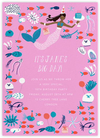 Mermaid's Cake - Tan - Mr. Boddington's Studio - Online Kids' Birthday Invitations