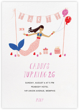 Party's Going Swimmingly - Medium - Mr. Boddington's Studio - Adult Birthday Invitations