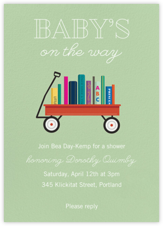 Book Shower - Sage - Paper Source - Baby Shower Invitations