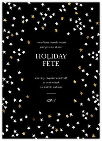 Sky Glitter - Black - kate spade new york - Holiday Cards