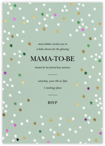 Sky Glitter - Mint - kate spade new york - Baby Shower Invitations