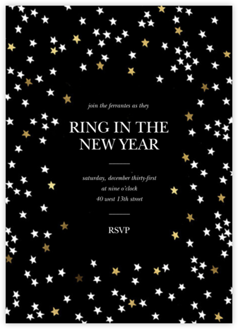 Sky Glitter - Black - kate spade new york - New Year's Eve Invitations