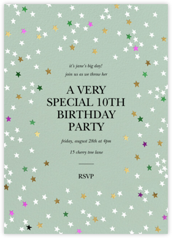 Sky Glitter - Mint - kate spade new york - Online Kids' Birthday Invitations