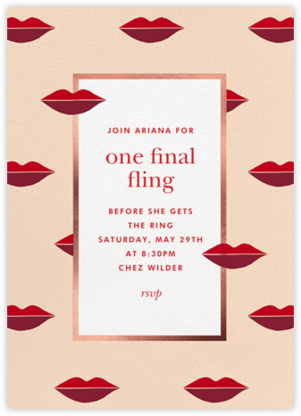 Two-Tone Lips - Bellini - kate spade new york - Bachelorette party invitations