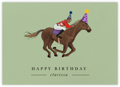 Thoroughbred Birthday - Sage/Tan - Paperless Post - Birthday Cards for Him
