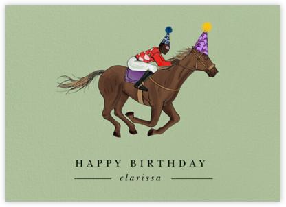 Thoroughbred Birthday - Sage/Deep - Paperless Post - Birthday Cards