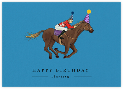 Thoroughbred Birthday - Robin'sEgg/Light - Paperless Post - Birthday Cards for Him