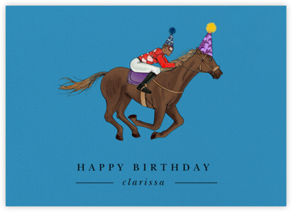 Thoroughbred Birthday - Robin'sEgg/Tan - Paperless Post -