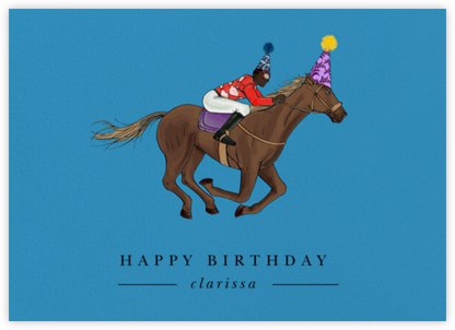 Thoroughbred Birthday - Robin'sEgg/Deep - Paperless Post - Birthday Cards for Him
