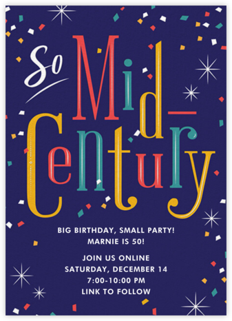Midcentury - Cheree Berry - Milestone Birthday Invitations