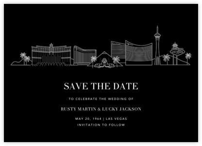 Las Vegas Skyline View (Save the Date) - Black/White - Paperless Post - Save the dates