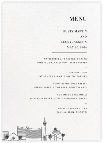 LasVegas Skyline (Menu) - White/Black - Paperless Post - Wedding menus and programs - available in paper