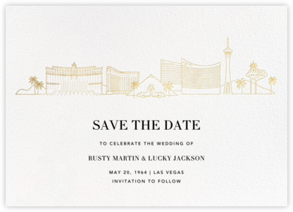 Las Vegas Skyline View (Save the Date) - White/Gold - Paperless Post - Save the dates