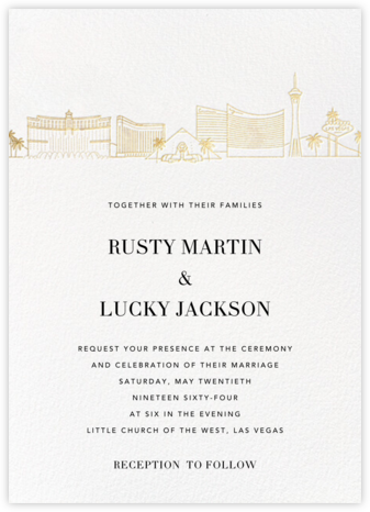 Las Vegas Skyline View (Invitation) - White/Gold - Paperless Post - Wedding Invitations