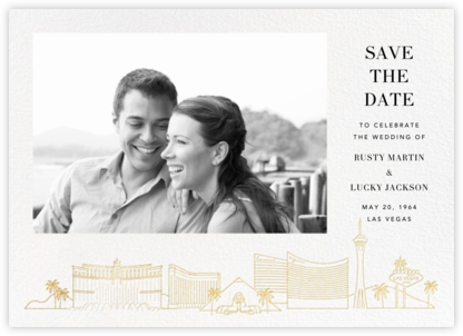 Las Vegas Skyline View (Photo Save the Date) - White/Gold - Paperless Post - Save the dates