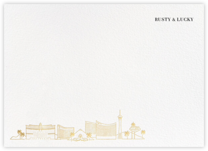 Las Vegas Skyline View (Stationery) - White/Gold - Paperless Post - Personalized Stationery
