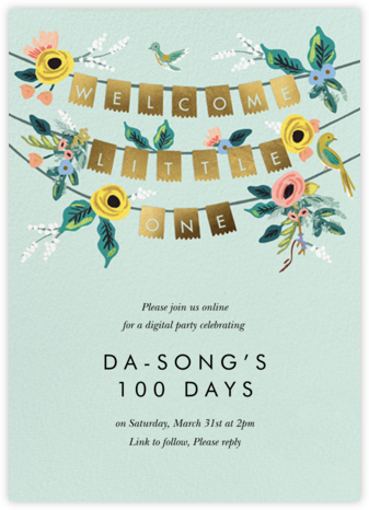 Golden Bunting - Rifle Paper Co. - 100 Day Celebration Invitations
