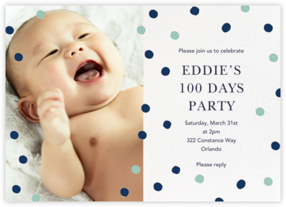 Painted Spots (Photo) - Dark Blue/Blue - Sugar Paper - 100 Day Celebration Invitations