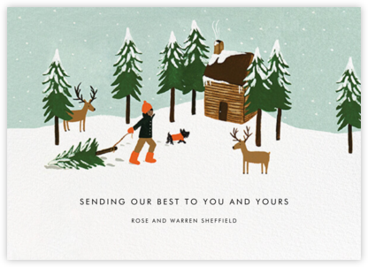 Christmas Cabin - Tan - Rifle Paper Co. - Holiday Cards