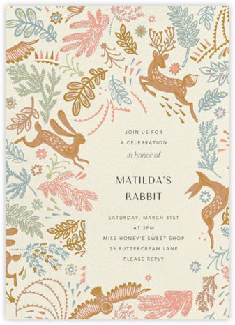 Folk Tails - Cream - Anthropologie - 100 Day Celebration Invitations