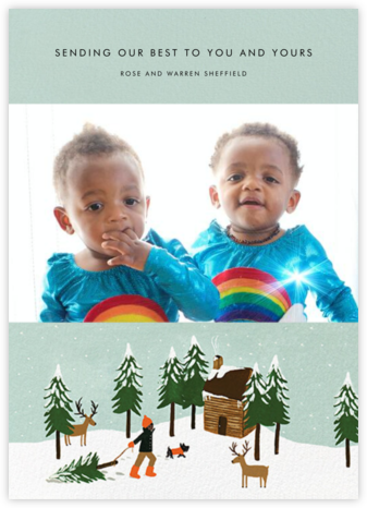 Christmas Cabin (Landscape Photo) - Deep - Rifle Paper Co. - Holiday Cards