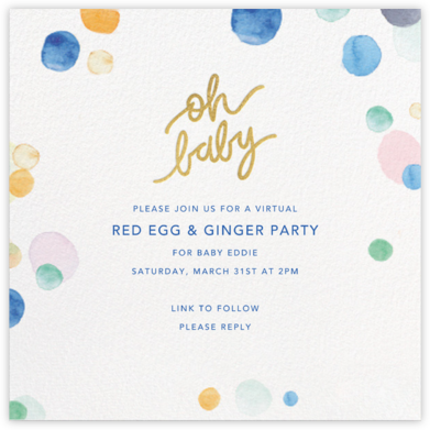 Watercolor Confetti - Baby - Sugar Paper - 100 Day Celebration Invitations