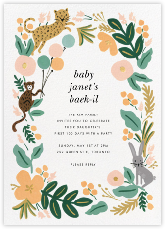 Festive Fauna - Rifle Paper Co. - 100 Day Celebration Invitations