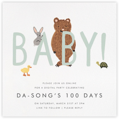 Bunny, Bear, and Baby - Mint - Rifle Paper Co. - 100 Day Celebration Invitations