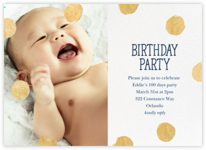 Big Dot Birthday (Photo) - Dark Blue - Sugar Paper - 100 Day Celebration Invitations