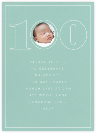 Milestone Portrait (One Hundred) - Celadon - Paperless Post - 100 Day Celebration Invitations