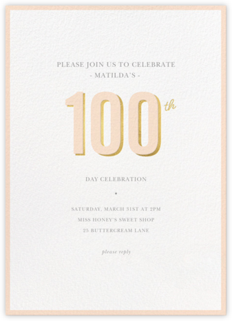Pop of Gold - 100 - Sugar Paper - 100 Day Celebration Invitations