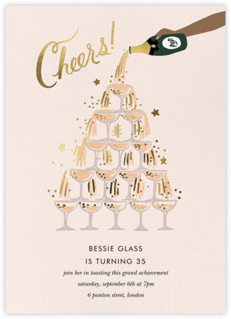 Champagne Tower - Tan - Rifle Paper Co. - Milestone Birthday Invitations