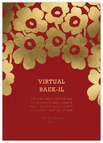 Gold Unikko - Crimson - Marimekko - 100 Day Celebration Invitations