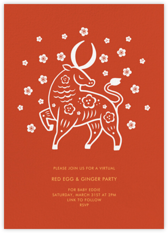 Cherry Blossom Ox (Invitation) - Paperless Post - Virtual Parties