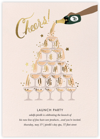 Champagne Tower - Tan - Rifle Paper Co. - Launch Party Invitations