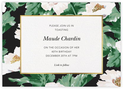Prim Peony - Oscar de la Renta - Adult Birthday Invitations
