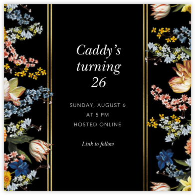 Nocturna - Oscar de la Renta - Adult Birthday Invitations