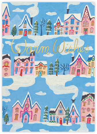 Winter Rooftops (Danielle Kroll) - Red Cap Cards - Holiday Cards