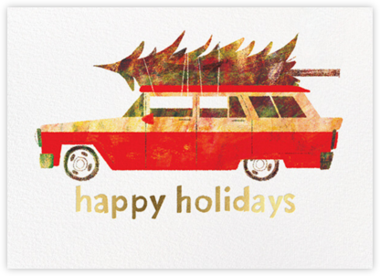 Tree on Board (Chris Sasaki) - Red Cap Cards - Holiday Cards