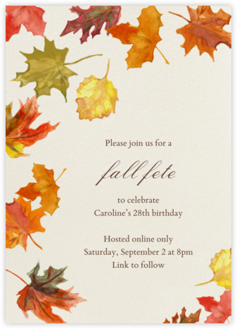 Watercolor Fall Leaves - Paperless Post - Adult Birthday Invitations
