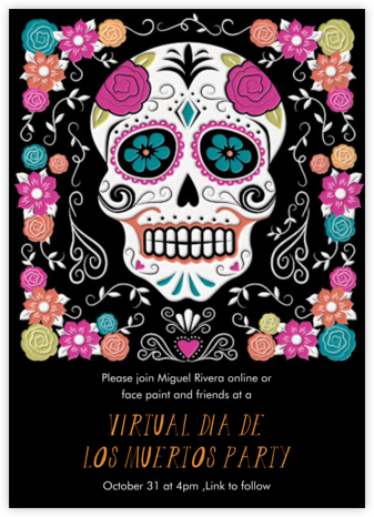 Floral Sugar Skull - Paper Source - Halloween invitations