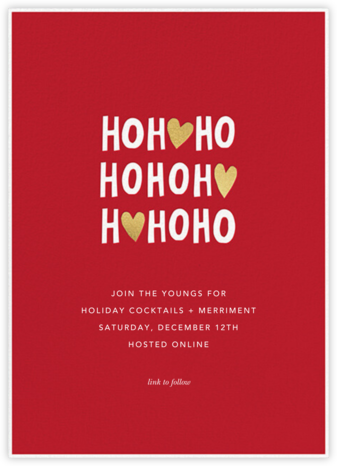 Ho Ho Hearts - Sugar Paper - Invitations